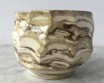 Faceted Chawan Tea Bowl, Hand Made Cup Tumbler Drinking Vessel, Wabi Sabi Marbled Ceramic Teacup