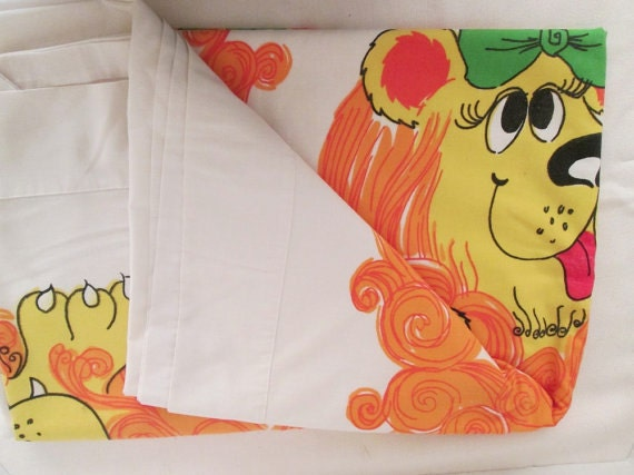 RARE Cartoon LION and Lioness Vintage Retro Twin Flat Sheet Fabric 72 x 1014 Lady Pepperell