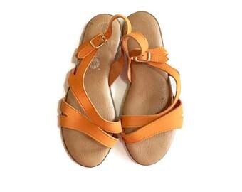 Vintage 80s huarache sandals, Orange leather flats, size 5-6