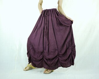 PLUS SIZE SKIRT...Bring Me To The Moon - Steampunk Maxi Flare Plum Cotton Skirt With Ruching Detail Around Bottom Hem