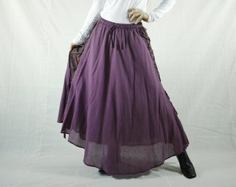 Boho Hippie Gpysy Full Circle Dusty Plum Light Cotton Skirt With Lining