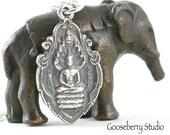 Silver Buddha Necklace, Om Ohm Symbol, Yoga Jewelry, Buddhist Jewelry, Pray Love, Sterling Silver