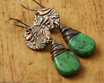 Turquoise Earrings, Earthy Woodland, Boho Hippie,  Copper, Green African Turquoise, Wire Wrapped, Dangle Drop Earrings