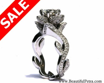 BLOOMING Work Of Art - Milgrain Flower Rose Lotus Diamond Engagement Ring - Semi Mount - Setting - 14K white gold - fL07 - Patented design