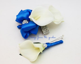 Royal Blue and White Callas and Rhinestones Real Touch Wedding Boutonniere and Corsage - Wedding Homecoming Prom Corsage
