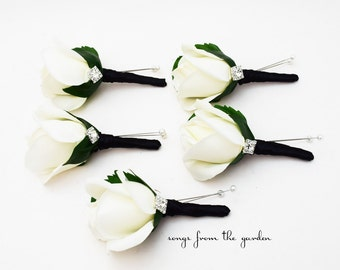 Black White Rose Rhinestone Boutonniere Groom Groomsmen Black Ribbon - Customize for Your Wedding Colors - Homecoming Prom Boutonniere