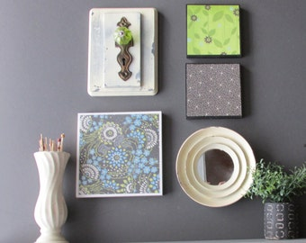 "wall art collage / ""Boho Greenhouse"" / home decor/ art framing idea"