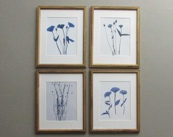 botanical wall gallery - Blue Botanicals -4 piece botanical framed prints
