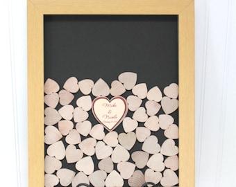 wedding Droptop guestbook  - wooden guestbook  Drop Hearts Guestbook - Drop top wedding guestbook - Shadow Box Guestbook Alternative