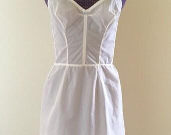 Vintage 1950s White Bullet Bra Full Slip Dress - Fitted Bodice Slip - RARE Form Allure