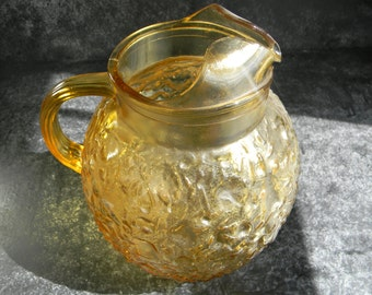 Vintage Amber Crinkle Design Pitcher by Morgantown glassice tea pitcher mid century kitchen & dining drinkware pitchers