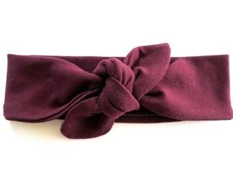 Dark Burgundy Baby Headband - Top Knot Headband - Stretch Headband - Vintage Style - Oxblood - Maroon Dark Eggplant Aubergine