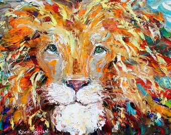 Lion painting original oil on canvas palette knife 12x16 impressionism fine art by Karen Tarlton