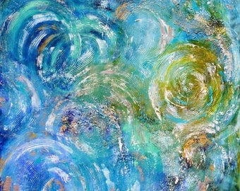 Abstract painting Sea Foam - oil and palette knife with acrylic texture impressionism on canvas fine art by Karen Tarlton