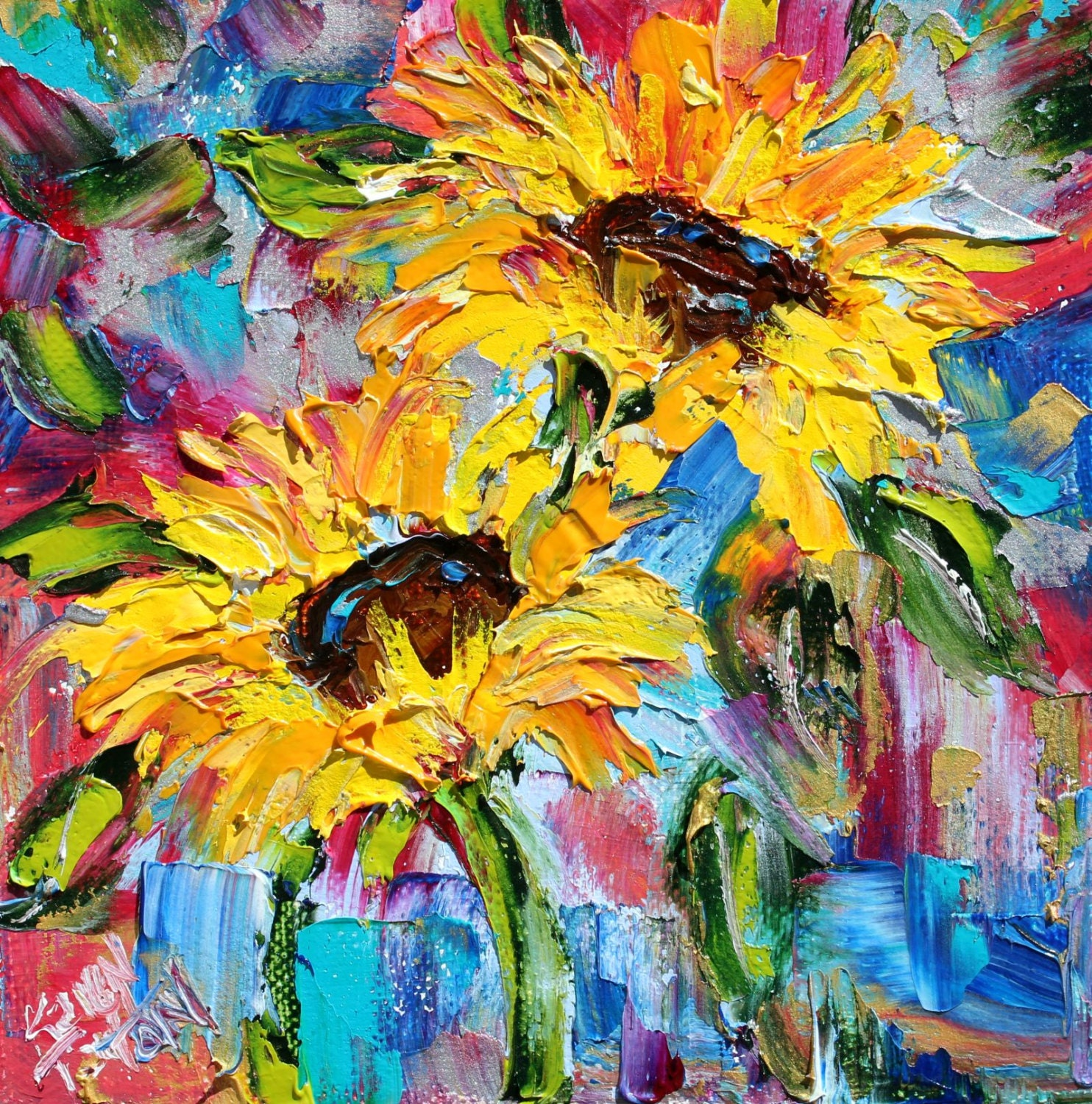 Original oil painting sunflower joy 6x6 palette knife for What is canvas painting