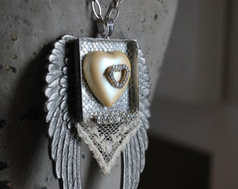 Mixed media winged heart vintage lace assemblage valentine heart necklace