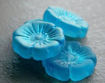 Czech glass flower beads, Pansy Flower Beads, Hawaiian flower beads, Large flower coin beads, Matte Blue & AB, 22mm  (2pcs) NEW