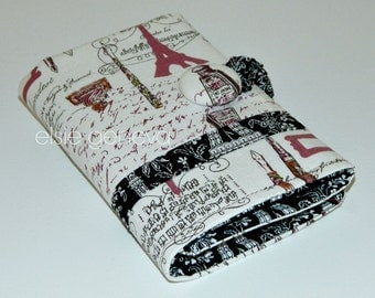 Eiffel Tower Crochet Hook Case Organizer - Notions Zipper Pocket - Japanese Linen - Clover Amour - Black Wine