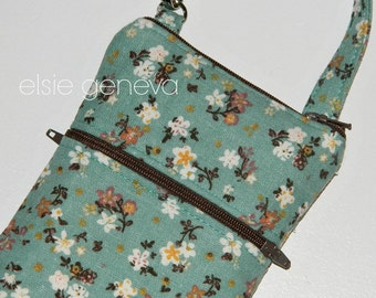 Aqua Floral Phone Case with Wrisltet - Optional Shoulder Strap -  Vintage Pink Rose Blush - iPhone 6 Plus Note Galaxy - Otterbox