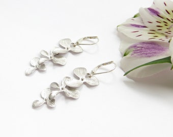 Triple Orchid Earrings, Silver Cascading Orchids, Falling Flowers Earrings, Rhodium Plate, Long Earrings, Bridesmaid Gift