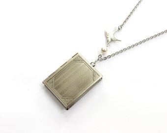 Rectangle Book Locket In Antique Silver With Flying Bird And Freshwater Pearl, Readers Necklace, Antique Locket