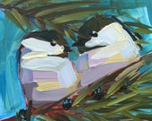 Two Chickadees no. 74 original bird oil painting by Angela Moulton 6 x 6 inch on panel