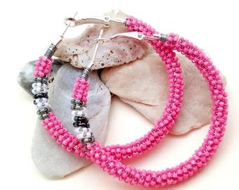 Beaded Hoop Earrings, Seed Bead Earrings, Pink Wire Wrap Hoops, Sweet 16 Earrings, Boho Chic Hoops, Gifts for Her, Easter Pastel Colors