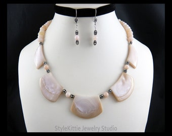 Pink Mississippi River Shell, Peruvian Pink Opal, Necklace, Dangle Earrings, 925 Sterling Silver, Luminous, Oxidized, Two Piece Set, Jewelry
