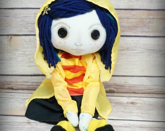 Coraline Button Eye Doll Inspired  Creepy cute OOAK Handmade Art doll cloth doll collectible Gothic doll decor gift rag doll