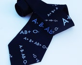 Screen Printed Tie - Men's Premium Quality Microfiber Tie - Blood Type Tie - Gift Wrapped - Choose color and quantity
