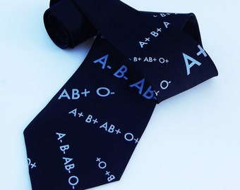 Silkscreened Tie - Blood Type Tie -Men's Premium Quality Microfiber Tie - Gift Wrapped - Choose color and quantity