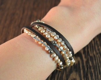 Pearl and Pyrite Wrap Bracelet / Necklace With Chocolate Leather