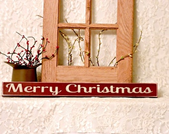 Merry Christmas- Primitive Christmas Shelf Sitter, Painted Wood Sign, Christmas Sign, Christmas Decor, Holiday Decor, Available in 3 Sizes