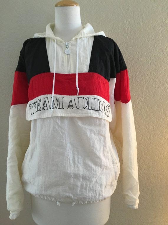 vintage team adidas trefoil pullover hooded jacket. Black Bedroom Furniture Sets. Home Design Ideas