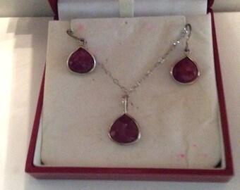 Summer Sale - Ruby Teardrop Pendant and Earrings Set