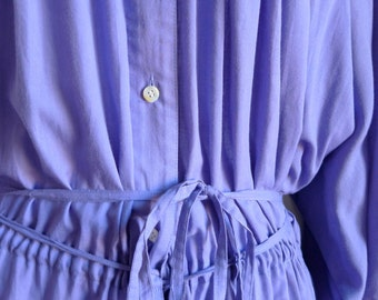 Comme des Garcons violet cotton gathered shirt dress with tie belt