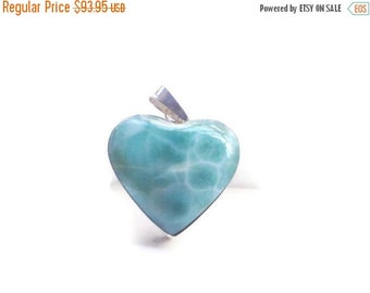ON SALE Larimar Jewelry Larimar heart pendant  Caribbean Blue Larimar Spring fashion trends Mothers day gifts