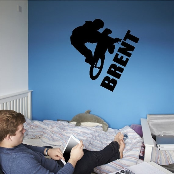 Custom Personalized BMX Rider Wall Decal Removable BMX Wall Sticker