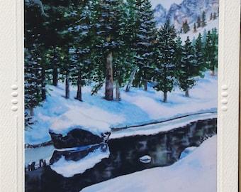 "5 ART GREETING CARD by Artist Christie Marie Elder, ""Winter Calm"", Snowy river card, blank Note Card / envelope, art print Framable art card"