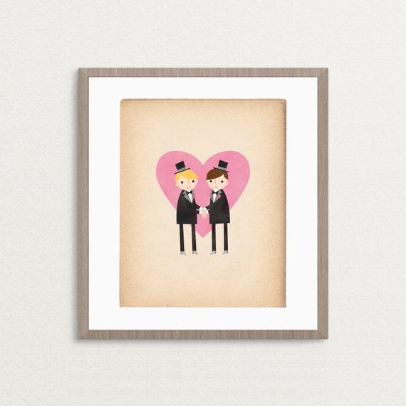 Groom and Groom Gay Wedding - Customizable 8x10 Archival Art Print