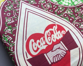 African fabric by the yard, rare retro Coca Cola print fabric, quality cotton, yardage diner style sewing quilting dressmaking projects!
