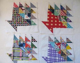 "Vintage Basket Pattern  Quilt Blocks - Mid Century Fabric - Machine Pieced - About 11"" by 11"""