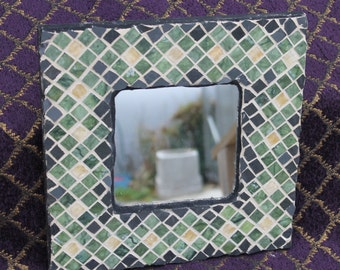 Tile and glass, Olive and Ocre, Pattern Mosaic Mirror