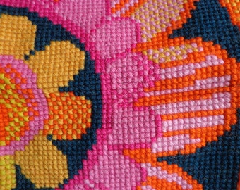 Vintage Needle Point Tapestry Large Floral Pattern