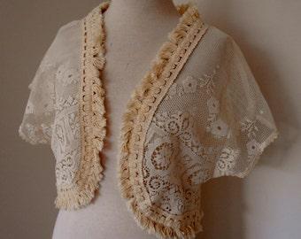 vintage lace bolero, vintage lace wedding bolero, vintage lace woodland wedding shrug