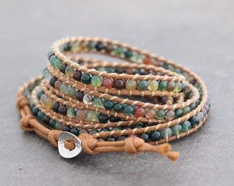 Fancy Jasper 5x Rust Brown Wrap Bracelet
