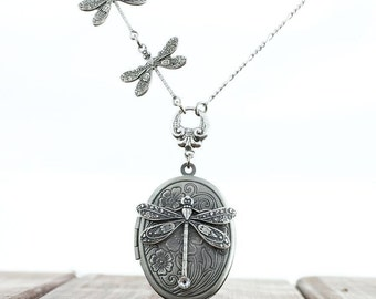 Dragonfly locket Necklace - Vintage Antique Silver ox Dragonfly Necklace with swarovski crystal.