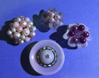 4 Vintage Jewelry Button Magnets Pinks Purples Rhinestones