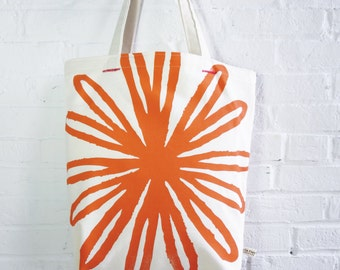 Mango Orange Bloom Carry all Canvas Tote bag
