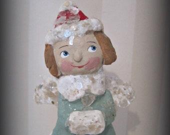Believe  Angel ooak doll folk art paper mache spool doll aqua